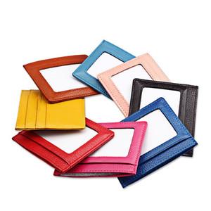 Carteiras de travamento dianteiras do bolso RFID do couro genuíno magro, suporte de cartão da luva do caso do cartão de crédito com janela da identificação