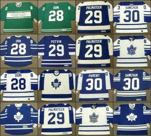 28 COLTON ORR 28 DOUG GILMOUR 28 TIE DOMI 29 FELIX POTVIN 29 MIKE PALMATEER 25 PETER ZEZEL 30 BERNIE PARENT Maple Leafs CCM Vintage jersey