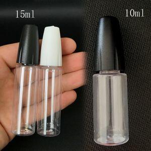 إبرة زجاجة بلاستيكية طويلة رقيقة تلميح PET ل EL السائل 10ML 15ML الخالي زجاجات عصير السائل القطارة مع يفتحها الاطفال كاب للزيت DHL