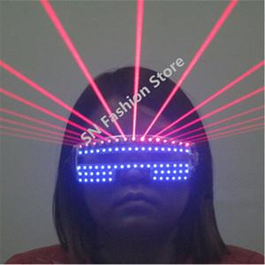 T823 Bar club bar renkli Lazer ışığı led ışık parti gözlük Lazer adam balo salonu dans kostümleri şarkıcı sahne gözlük giyer