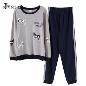 JRMISSLI 2018 Pyjamas Ensemble Pour Hommes Vêtements De Nuit Lettre Pyjamas Col Rond Piyamas Automne Coton Vêtements De Nuit Deux Pièces