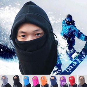 9Color hiver chaud Fleece beanies chapeaux pour hommes crâne bandana plus chaud du cou cagoule ski snowboard masque facial épaississement catch cagoules b272