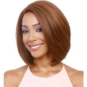 Zhifan Top Sale Blonde Brown Straight Bob Shot Pelucas Nature Look Pelo sintético para las mujeres estadounidenses de África