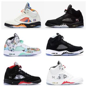 2018 yeni varış 5 basketbol ayakkabı Paris uluslararası uçuş beyaz çimento erkekler kadınlar için siyah metalik kırmızı süet Oreo sneakers