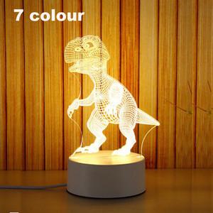 3D Piccola luce notturna Piccola 2018 NOVITÀ Piccola lampada da tavolo Lampada da regalo Telecomando USB Touch Originalità Comoda lampada da comodino 7 colori Dinosauro