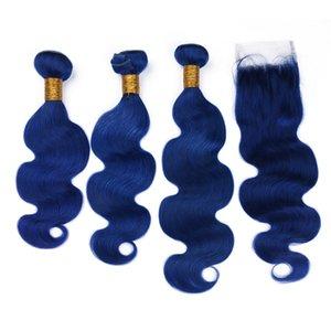 Pelo de color azul oscuro de la Virgen con el cierre 3 Bundles con el pelo humano brasileño de la onda del cuerpo de la Virgen del cierre del cordón con el cierre libre de la parte