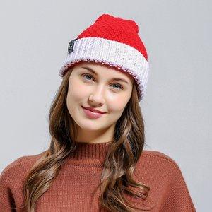 Hiver Femmes Tricoté Chapeau Chaud Pom Pom grosse boule Laine Chapeau Santa Claus crâne Beanie solide Crochet Ski En Plein Air casquettes de Noël LJJA3437