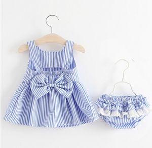 2018 Kız Bebek Çocuk Giyim Setleri Yay Çizgili Elbiseler Şort 2 Adet Set Yaz Pamuk Yay Prenses Elbise Butik Giyim Kıyafetler