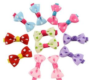 Clip di arco delle neonate Caramella Colore Solido / Polka Dot Flower Stampa Ribbon Bow Tornante BB Hair Clips per Neonate Bambini Accessori per capelli zzh