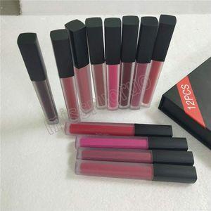Hot 12 Farben / set Matt Lipgloss Beauty Flüssiger Lippenstift bilden wasserdichte langlebige Lipgloss Trophy Wife Icon Vixen 1set