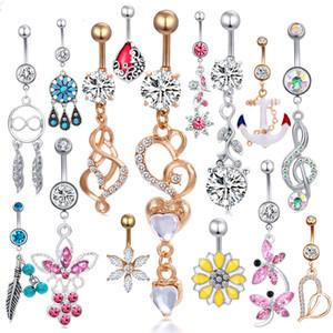 Dangle göbek halkası toptan 20 adet mix stil göbek düğmesi piercing vücut takı halter