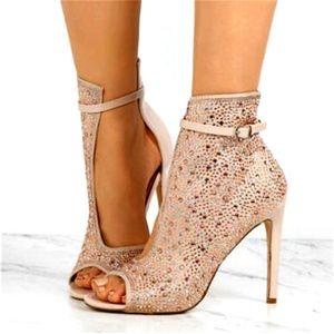 Sommer Frauen Satin Strass Gebohrt Seite Peep Toe Sandalen Ankle Boots Ankle Strap Damen Bling Kristall High Heel Stiletto Stiefel