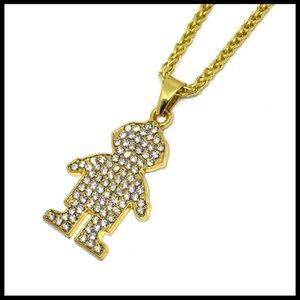 Iced out homem menino sinal pingente de colar de hip hop banhado a ouro jóias full diamond design menino charme colar