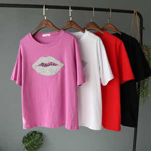 Новое прибытие женщин с коротким рукавом повседневная футболка девушки свободные футболки горный хрусталь губы блестки футболка топ блузка 4 цвета XS-L
