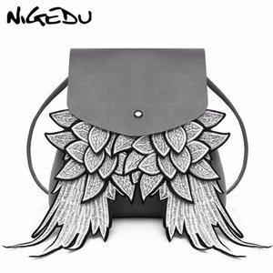 Mode femmes sac à dos samll avec aile design unique PU cuir dame sac Angel Wings cordon sac à dos épaule femme sac bao