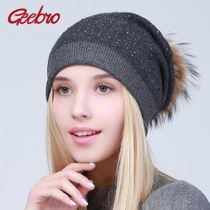 Bonnet de laine pour femmes Geebro hiver chaud bonnets en cachemire avec fourrure de raton laveur Pompon dames couleurs solides Cap avec strass D18110102
