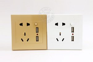 Wall Electrical Universal Plug Standard Faceplate Socket Double 2 USB Outlets Ports Switch For Mobilephone Charging