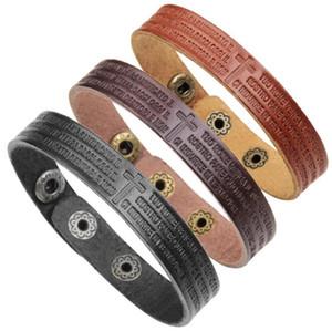 2018 Simple Fashion Italian Mens Vintage Leather Bracelet Men Engrave Cowhide Bracelets For Business Amazon Hot Sale