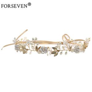 FORSEVEN Yüksek Kalite Altın Kristal Inci Kafa Gelin Saç Aksesuarları Çiçek Kafa Adet El Yapımı Düğün Saç Takı S918