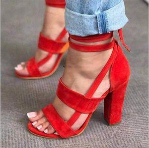 Femmes d'été Chaussures 2018 Sandales pour femmes Gladiateur à talons croisés Lacets à lacets Casual Cheville Sandales W532