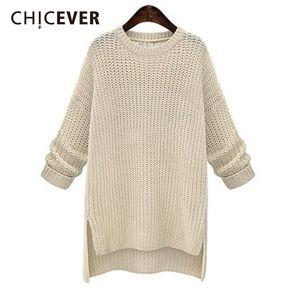 CHICEVER Женский свитер с длинным рукавом O шеи с длинным рукавом Асимметричный сплит Loose Big Size Осенние женские свитера Fashion Tide New