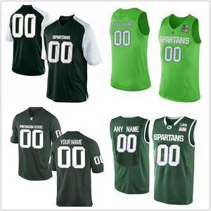 2018 NCAA Männer benutzerdefinierte Michigan State Spartans College Fußball Trikots grün weiß genäht personalisierte Basketball Trikots S-XXXL