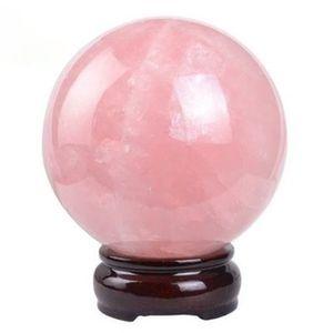 Frete Grátis Pedra Natural Gemstone 40 MM Rose Quartz Esfera Bola De Cristal Chakra Cura Reiki Stone Carving Artesanato E Suporte De Madeira Livre