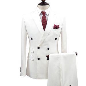 Slim Fit Uomo Bianco Abiti da sposo sposo Smoking 2 pezzi (giacca + pantaloni) sposo sposo Best Business Prom giacca sportiva