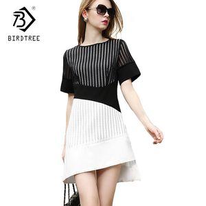 2018 European Style Elegance Spring Womens Fashion Short-Sleeve Asymmetrical Dresses O-neck Solid Above knee Dresses D82819A