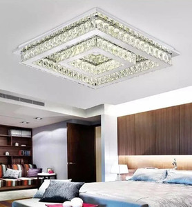 LED Modern Square Crystal Stainless Steel LED Lamp.LED Light.Ceiling Lights.LED Ceiling Light.Ceiling Lamp For Foyer Bedroom LLFA