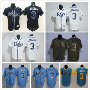 New Mens Tampa Bay Custom Rays 3 Evan Longoria Baseball Jerseys Pullover Mesh BP Cooperstown Black Jersey