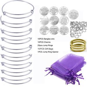 10PCS / Set-Silber-Ton Erweiterbare Draht-Armband-Armband-Anhänger-Geschenk-Beutel