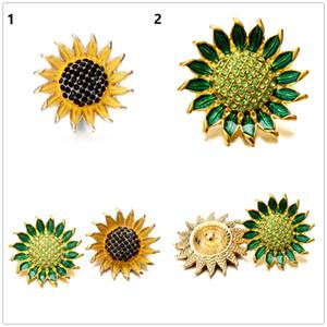 20pcs / lot 18mm a forma di girasole con bottone a pressione fiore in cristallo argento antico a scatto gioielli in lega retrò Ginger Snap Fascino in metallo fit bracciale anelli