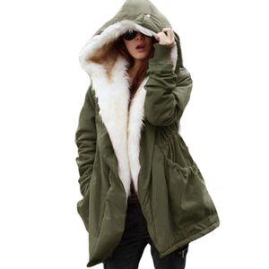 Moda feminina Inverno Casaco Com Capuz Casaco Casaco Parkas Longo Trench Casaco Grande Preto Azul S-2XL