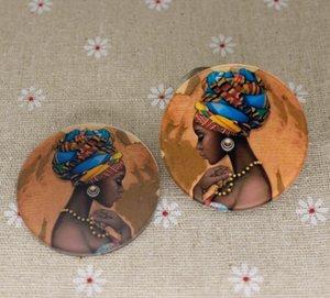 المرأة الأفريقية حك أقراط سحر 2 الوجهين الطباعة الملونة مخصص صورتك الخاصة أو نص 5MM 10prs / الكثير