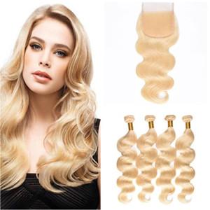 # 613 Blonde brasilianische Menschenhaar spinnt mit Top-Verschluss-Körperwelle Bleichmittel Blondes reines Haar 4 Bundles mit 4x4 Lace Fronta-Verschluss 5tlg