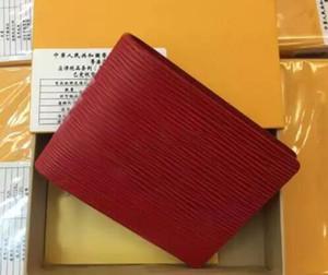 Paris Premium Red Leather Slender Wallet X Rojo Black Monedero de cuero genuino Outdoor Sport Bag # 857