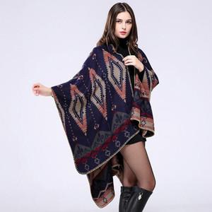 AZTEC Womens Winter Cashmere Reversible De gran tamaño Espesar Manta a cuadros Poncho Cape Shawl Abrigo largo Abrigo Mantón Abrigo Tops