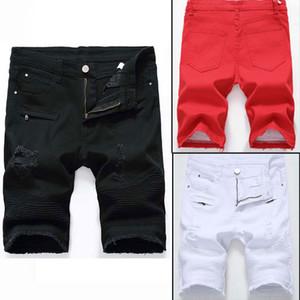 Los pantalones vaqueros para hombre Pantalones cortos de ciclista pantalones vaqueros de la motocicleta Rock Revival cortos flaco Agujero rasgado dril de algodón pone en cortocircuito los pantalones vaqueros de los hombres de los hombres del diseñador