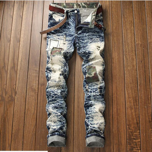 Men's Distressed Ripped Skinny Jeans patch Designer Jeans Slim Motorcycle Moto Biker Causal Mens Denim Pants Hip Hop Men Jeans txddbl