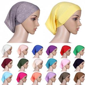 الأزياء غطاء كامل المرأة مسلم الحجاب الإسلامي رئيس ارتداء underscarf شالات الحجاب الصلبة الألوان النساء رباطات أغطية الرأس