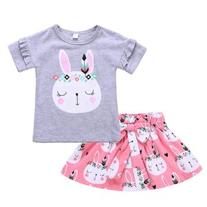 1-4T Baby Girls rabbit pattern summer outfits 2pc set agaric laces short sleeve T shirt+rabbit print big bow skirt kids summer clothing