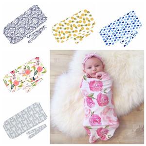11 X084 Infant Blanket Cotton Pajamas Wrap+Headband Sleeping Newborn Set 2 Bags Muslin Piece Swaddle Baby Floral Hairband Colors Kvrnl