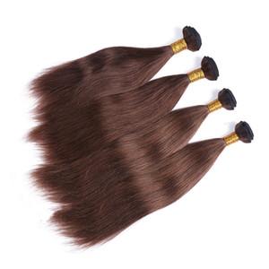 # 4 Dark Brown peruana reta de seda Cabelo Humano Weave Extensão Chocolate Brown Virgin Remy Human Pacotes Cabelo ofertas Duplo Wefted