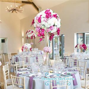 Vector de la boda decoraciones de 80 cm 100 cm de altura trompeta Vase puestos de flores pieza central metálica