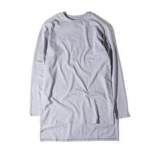 Big for Sam Tshirts Men Summer Bottoming Tops Shorts Sleeved Longline Curved Extended T-shirt Split Tees