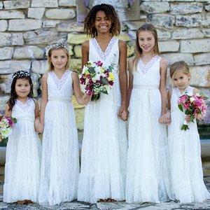 Romantique Boho Dentelle Fleur Filles Robes Blanc V Cou Mariages Juniors Demoiselles D'honneur Robes Pas Cher Longue Robe D'été Fille