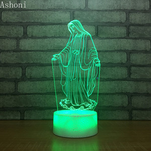 3D Acrílico LED Night Light Virgem Maria abençoada táctil de 7 Cor Mudar Desk Table Lamp Partido Presente de Natal Luz decorativa