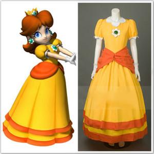 Spiel Super Mario Daisy Prinzessin Gelbes Kleid Cosplay Benutzerdefinierte tpyes 1 Kostüm