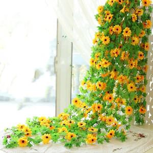 Sunflower verzieren künstliche Blume Kette Form ausgesetzt Decke Kunststoff gefälschte Reben Simulation Blumen Rohr Dekor Party gefallen 4 58nx ii